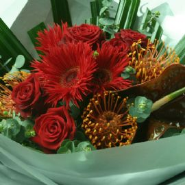 'Red textured' hand tied bouquet
