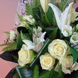 Timeless white and green hand tied bouquet
