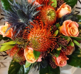 Orange liqueur hand tied bouquet