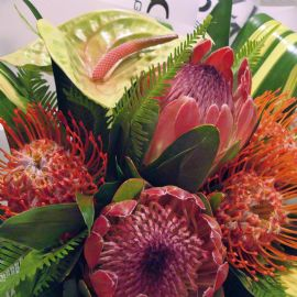Exotic flower hand tied bouquet