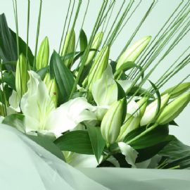 Scented oriental lily hand tied bouquet