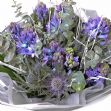 Frosted hyacinth and thistle bouquet